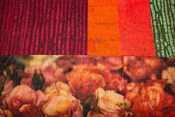 No015 ColorfulCork Rosen auf Korkstoff