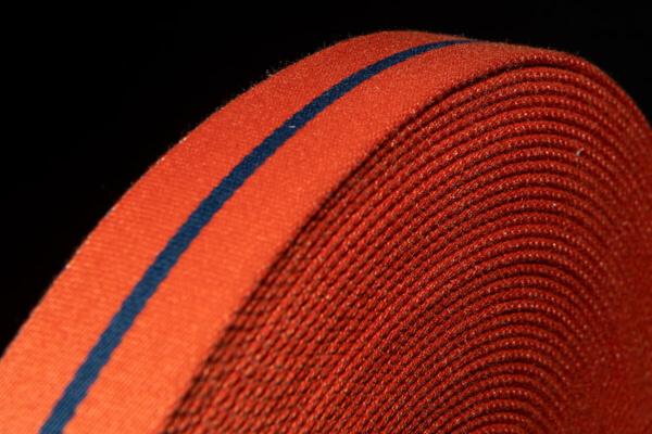 Taschengurt aus Oilskin Orange Blau