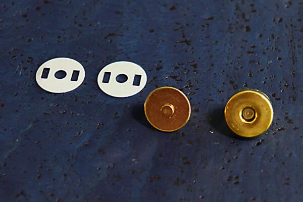 korkundkuloer taschenaccessoires druckknopf magnetisch vergoldet
